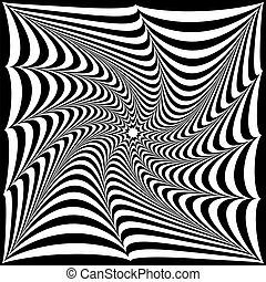 optical illusion of black and white stripes in the form of a tw