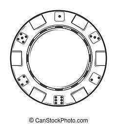Single casino chip isolated on a white background. Line art....