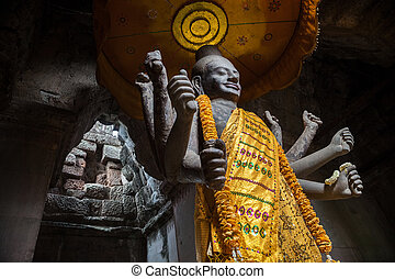 Revered Vishnu statue at Angkor Wat, near Siem Reap Cambodia...