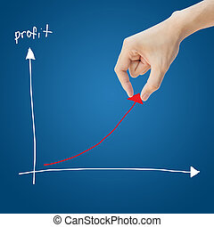 Business hand help profit graph