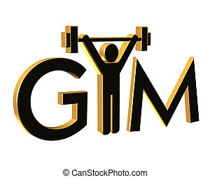 Gym Fitness Logo 3D - 3D Black and gold logo for fitness...