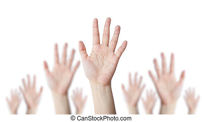 One hand leader with blur hand behind business concept
