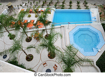 View on a beach and a courtyard - Top view on a beach and a...
