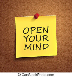 open your mind words on post-it over brown background