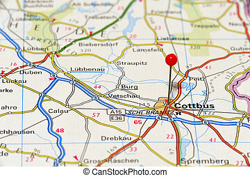 Map - Closeup map of Cottbus. Cottbus a city in Germany....