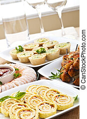Assorted appetizers - Many dishes of bite size appetizers...