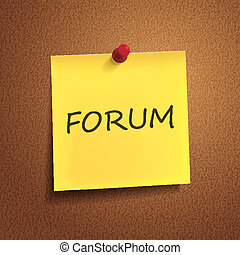 forum word on post-it over brown background
