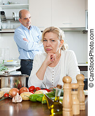 Mature family having quarrel - Senior mature family having...