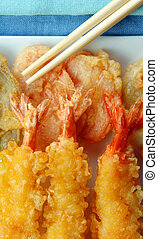 Shrimp Tempura with Chopsticks - Shrimp Tempura with with...