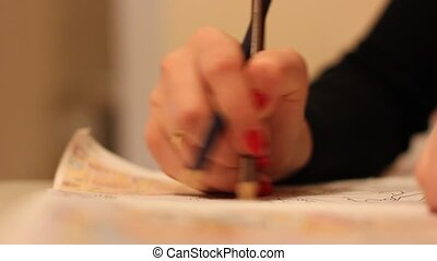 Girl draws a picture