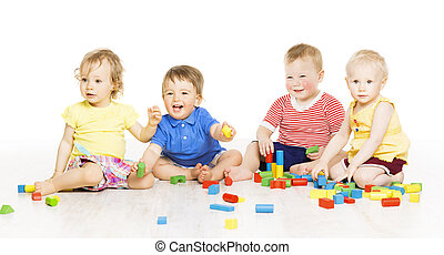 Children group playing toy blocks Baby Kids development,...