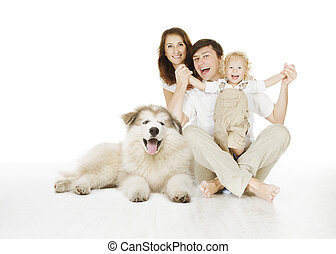 family and dog, happy smiling father mother and laughing...
