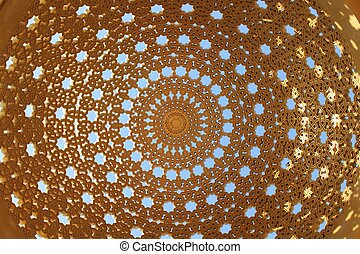 Gold Gazebo dome - In the street of Muscat, there are...
