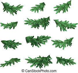 Christmas tree green branches set isolated on white...
