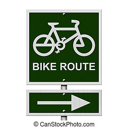 Bike Route Sign, An green road sign with bike icon and arrow...