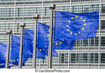 EU flags in front of European Commission in Brussels