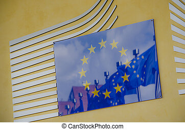 Close-up of the Entrance of the headquarters of the European Com