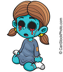 Zombie girl - Vector illustration of Cartoon zombie girl