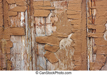 Edit Old paint on wood - The texture of old paint. Scaling,...
