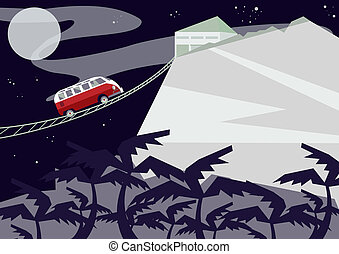 Night mountain landscape with a red bus