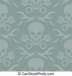 Skull and Pistons Seamless Backgrou - Seamless vector...