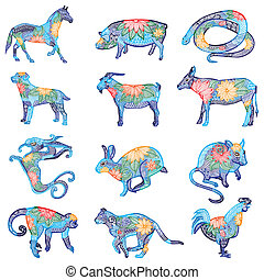 Blue embroidery chinese zodiac
