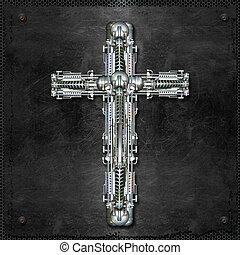 crucifix - A bright metal cross on steel plate