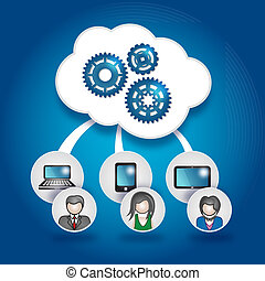 Cloud and Mobile - This image is a vector illustration and...
