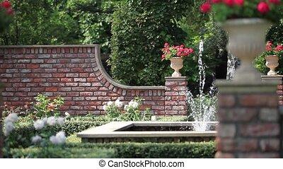 English garden with a fountain - spray fountain in the rose...