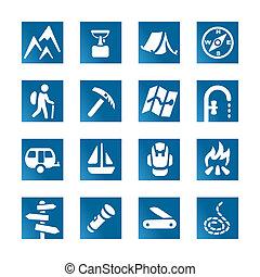 Hiking, jogo, ícones, azulejos