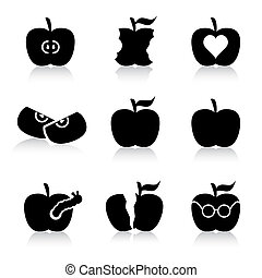 Apples silhouette - This image is a vector illustration and...