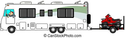 Motorhome towing ATV trailer - This illustration depicts a...