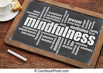 mindfulness word cloud on a vintage slate blackboard with a...