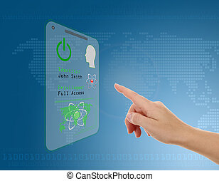 Woman entering the door or secure data by touch screen