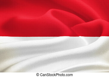 flag of Indonesia waving in the wind. Silk texture pattern