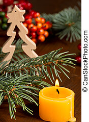 Christmas Candles - still life with Christmas candle and...