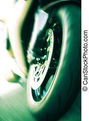 high speed - front of the motorcycle at high speed