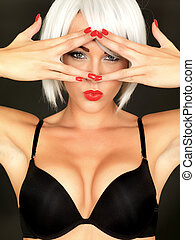 Sexy Young Woman Wearing Black Bra - Sexy young Woman...