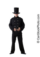 Pretentious man posing dressed as chimney sweep - Image of...
