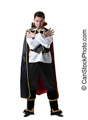 Pretentious man posing in costume of illusionist - Image of...