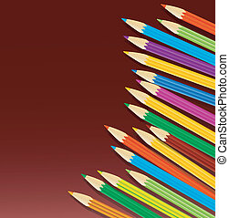 varicoloured pencils on a claret background,vector...