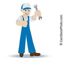 man a locksmith with a wrench in hand shows gesture...