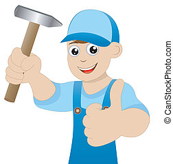 man a locksmith with a hammer in hand shows gesture...