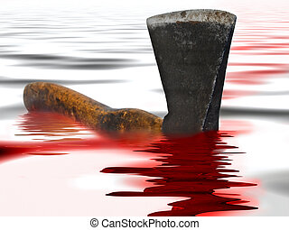 axe with blood - Photo of the old rusty axe in red blood and...