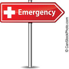 Vector emergency sign - Vector illustration of red emergency...