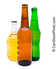 beer - three multicolored bottles of beer against the white...