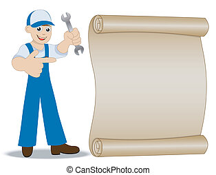 man a locksmith with a wrench in hand shows on old...