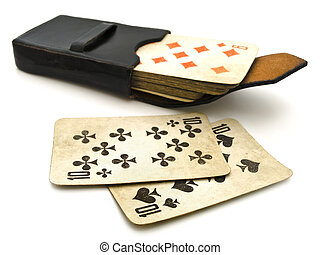 playing cards - Photo of the old playing cards in leather...