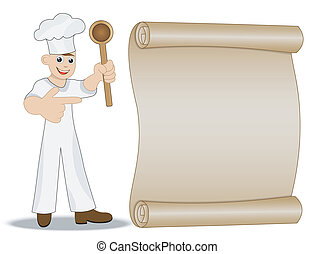 man cook with spoon in hand