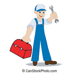 man locksmith with a hammer and gripsack in a hand,vector...